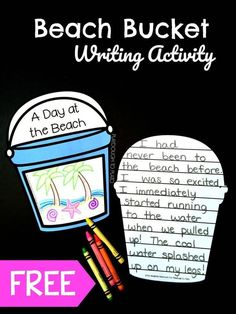 Free A Day at the Beach Bucket Writing Activity! A great writing prompt for first grade and second grade this summer! #freewritingprompts #summerwritingfun #playdoughtoplato