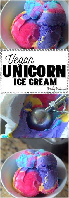 This Vegan Unicorn Ice Cream is so simple! Only 3 Ingredients and SO CUTE! #vegan #unicorn #recipe #3ingredient #simplefood #food #tasty #icecream #nicecream