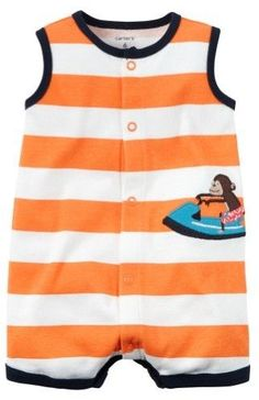 5a37c05deae5 Carter's Baby Clothing Outfit Boys Snap-Front Striped Romper Monkey Orange  NB Baby Boy Romper