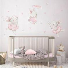 Baby Bedroom, Baby Room Decor, Nursery Wall Decals, Nursery Room, Pépinières Rose, Ballerina Nursery, Casa Loft, Bunny Nursery, Watercolor Walls
