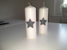 Große weiße Kerze mit grauem Stern von rosa rot auf DaWanda.com