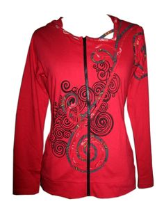 Women's Red Long Sleeve Sinker Jacket with Front Embroidery