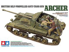 This model assembly kit recreates the British Army's Archer. As WWII progressed, British troops found that their and 6 pounder guns were being rendered obsolete by German armor, and planners decided to develop a vehicle using the powerful 17 pounder gun. Canadian Army, British Army, British Tanks, Military Photos, Military Art, Plastic Model Kits, Plastic Models, Luftwaffe, Tamiya Models