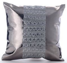 Platinum Silver Pillows Cover 16x16 Square Faux by TheHomeCentric
