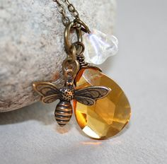 Honey Bee Necklace Yellow Faceted Briolette and Bee by smilesophie, $17.00