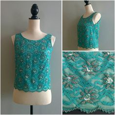 Flower Cluster Silk Scallop Lace Top   70s vintage beaded turquoise blue sequin floral beading tank sleeveless top evening cocktail