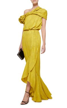 Harper Draped Floral-Detailed Cloqué Dress by Hellessy Choice Fashion, Evening Dresses, Prom Dresses, Wedding Dresses, One Piece Dress, Mellow Yellow, Yellow Dress, Fashion Outfits, Women's Fashion