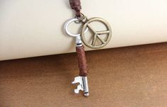 Vintage Key Peace Leather Pendant Necklace,free shipping,looback ,looback.com,$9.99
