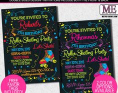 80's Party Invitation - Roller Skate Party - Neon Party - PRINTABLE Personalized Printable Invitation and Thank You Card by LillianHopeDesigns