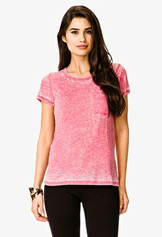 Patch Pocket Burnout Tee | FOREVER21 with cute scarf
