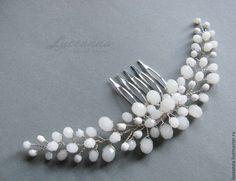 Купить Гребень для причёски невесты - белый, свадьба, свадебные аксессуары, свадебное украшение, свадебные украшения
