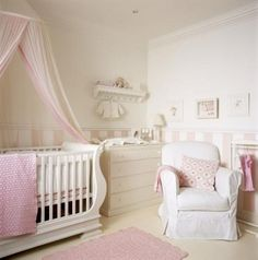 Girls nursery, clean and pretty!  Pink and cream