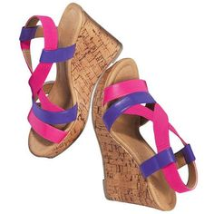 """These stylish stretch wedges are never tight, always right. The front straps are a leather-like material with an elastic gore upper that goes around the ankle. Whole sizes: only; Half sizes, order one size up. · Heel: 3 3/4"""" H faux cork wedge · Platform toe: 3/4"""" · Cleaning: Wipe with a dry cloth · Imported"""
