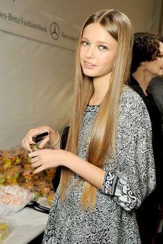 Kristina Romanova. long straight hair