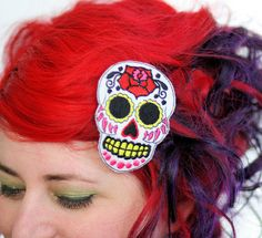 Sugar Skull Hair Clip, Day of the Dead, Pink