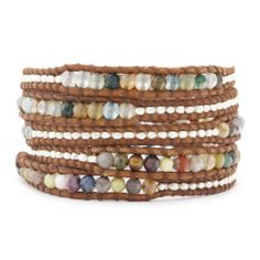 Chan Luu - Multi Stone and Nugget Wrap Bracelet on Natural Brown Leather, $225.00 (http://www.chanluu.com/wrap-bracelets/multi-stone-and-nugget-wrap-bracelet-on-natural-brown-leather/)