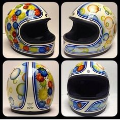 Each helmet sent to us is painted one at a time by hand and is replaced with custom trim (black or chrome) and also has a high quality mirr. Biltwell Helmet, Candy Paint, Custom Motorcycle Helmets, Helmet Paint, Pinstriping, Custom Paint, Motorbikes, Paint Ideas, Bike Ideas