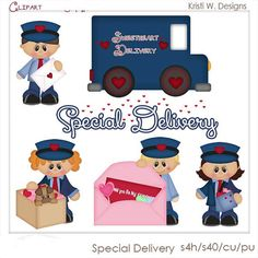 DIGITAL SCRAPBOOKING CLIPART  Special Delivery by BoxerScraps