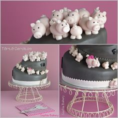 W/ 30 pigs? 3d Cakes, Fondant Cakes, Fancy Cakes, Cute Cakes, Piggy Cake, Silvester Diy, Pig Cookies, Pig Birthday Cakes, Farm Cake