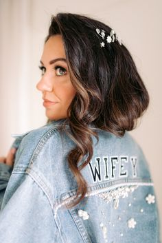 Wifey Personalised Denim Jacket for Bride | By Nkima Photography | London Wedding | City Wedding | Neon Wedding Sign | Black Tie Wedding | Personalised Denim Jacket | Wedding Jacket | Bridal Jacket | Bridal Cover-up | Wedding Cover-up | Bridal Accessories | Wifey Jacket