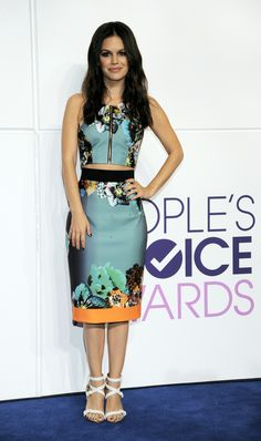 Rachel Bilson wore a Milly two-piece ensemble with strappy white heels at the nominations for the 40th Annual People's Choice Awards in Los Angeles last night.
