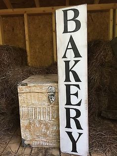 """Looking for the perfect """"modern farmhouse"""" accent? Are you obsessed with Fixer Upper? Hand-painted and distressed for a rustic, primitive look. Wood Pallet Signs, Rustic Wood Signs, Wooden Signs, Farmhouse Signs, Farmhouse Chic, Nashville Farmers Market, Bakery Sign, Fixer Upper Kitchen, Decor Market"""
