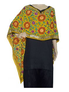 Super Georgette Stole Handembroidery SuperGeorgette Stole with Traditional Embroidery Work  Stole Length 2.25 Meter, Width 0.5 Meter  Wash Care Dry Clean Shop Now : http://www.jankiphulkari.com/yellow-super-georgette-stole-jsgs1200?___SID=U
