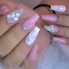 Cute Nail Designs, Acrylic Nail Designs, Pink Nails, Glitter Nails, Cute Nails, Pretty Nails, Best Acrylic Nails, Nail Tech, Swag Nails
