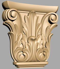 A117. Capiteli 3D models for CNC Front Door Design Wood, Wooden Door Design, Wooden Art, Dremel Wood Carving, Wood Carving Art, Wood Carving Designs, Wood Carving Patterns, Pillar Design, Rococo Furniture
