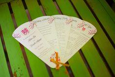 Expandable Fan Wedding Program with Orange Ribbon