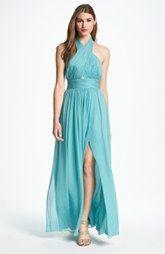 Jill Stuart Cutout Front Silk Chiffon Halter Gown