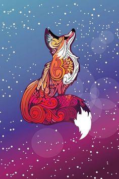 fox, galaxy, and art image Art in 2019 Fox drawing