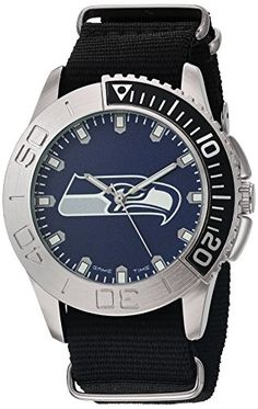 Men's Wrist Watches - Game Time Mens Starter Quartz Metal and Nylon Automatic Watch ColorBlack Model NFLSTASEA *** You can find out more details at the link of the image.