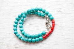 Turquoise Necklace with Red coral beads, Toggle by WhiteLilyDesign, $25.00