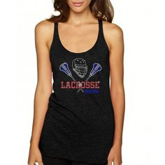 ''Lacrosse Mom'' Fitted Next Level Tri-Blend Woman Racerback Tank. Ndk1419