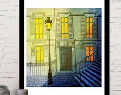 Paris Montmartre, illustration, home decor, paris poster Paris Poster, Illustration, Shop, Painting, Etsy, Vintage, Home Decor, Art, Art Background