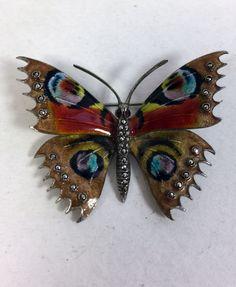 Aksel Holmsen Norway Silver Enamel Butterfly Brooch / Pin - Elaborate & Amazing! #AkselHolmsen
