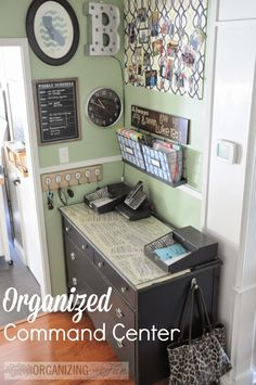 Organized Command Center :: repurpose a dresser in to your family's command center. Via OrganizingMadeFun.com