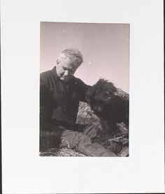 Sculptor Alexander Calder (1898–1976) with his dogs in Roxbury, Connecticut, ca. 1960. Calder's first creations, aged 11, were a tiny dog and a duck that he gave to his parents as Christmas presents. Alexander Calder papers.