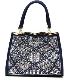 Textured Denim Rhinestone Handbag