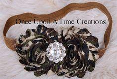 Army Green Print Shabby Chic Flower Rose Headband - John Deere Birthday  - Newborn Baby Hairbow - Little Girls Hair Bow