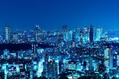 Shinjuku Skyscrapers, via Flickr. Blue Wallpaper Iphone, Blue Wallpapers, Shades Of Blue, Rooftop, My Dream, New York City, New York Skyline, Skyscrapers, Explore