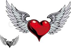 STAR WING TATTS | Heart Wings Tattoos on Stock Vector Of Retro Color Heart With Wings ...