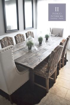Black and Espresso Farmhouse / Reclaimed Wood Plank Style Dining ...