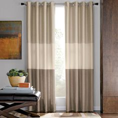 At Penney's they have the aqua and beige combo that I want. $60.00.Studio™ Trio Grommet-Top Curtain Panel  found at @JCPenney