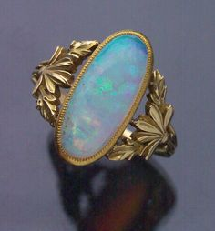 ART NOUVEAU  Floral Ring   Gold Opal  French, c.1900
