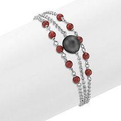 Garnet, 9mm Cultured Tahitian Pearl and Sterling Silver Bracelet (7.5 in.)