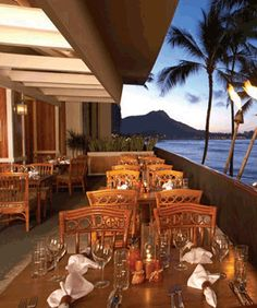 Hula Grill Waikiki, located above Tabora Gallery in the Outrigger Waikiki Hotel.  Get the Hula Pie!