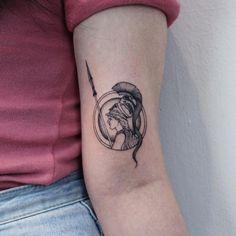 """한유니 on Instagram: """"여신 아테나 도안제작해 작업했습니다"""" Greek Goddess Tattoo, Greek God Tattoo, Greek Mythology Tattoos, God Tattoos, Mini Tattoos, Small Tattoos, Cover Tattoo, Arm Tattoo, Sleeve Tattoos"""