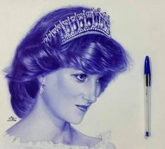 Princess diana portrait drawn with just a ballpoint pen Realistic Pencil Drawings, Cool Art Drawings, Ink Pen Drawings, Art Sketches, Stylo Art, Ballpoint Pen Drawing, Celebrity Drawings, Princess Drawings, Portraits